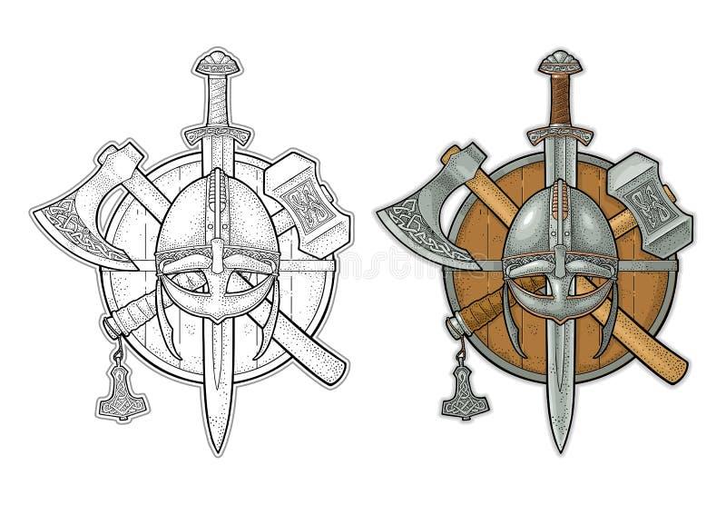 Set edged weapons viking. Knife, axe, sword, hammer. Vintage engraving stock illustration