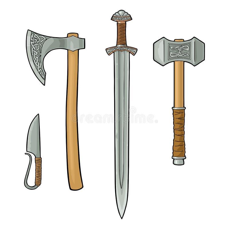 Set Edged Weapons Viking  Knife, Axe, Sword, Hammer  Vintage