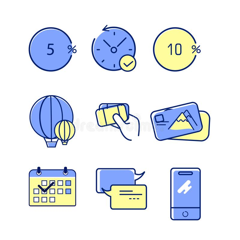 A set of 9 editable bank icons. Includes symbols such as discount, limited offer. A set of 9 editable line bank icons. Includes symbols such as discount, limited vector illustration