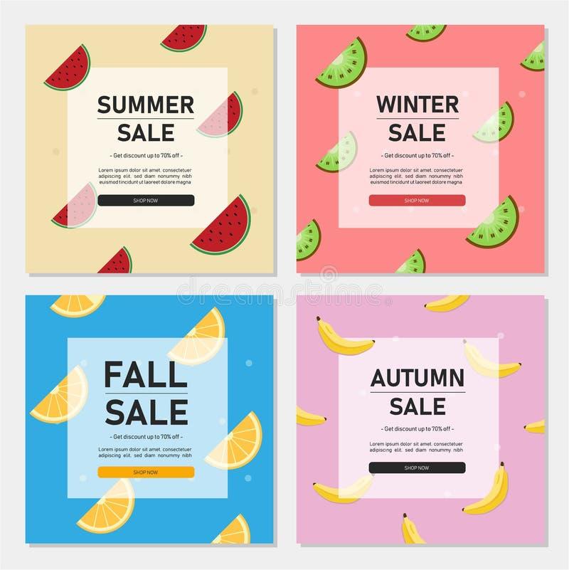 Set editable kwadratowy sztandaru szablon Sezon sprzedaży sztandar dla ogólnospołecznych środków poczty, sieci i interneta reklam ilustracja wektor