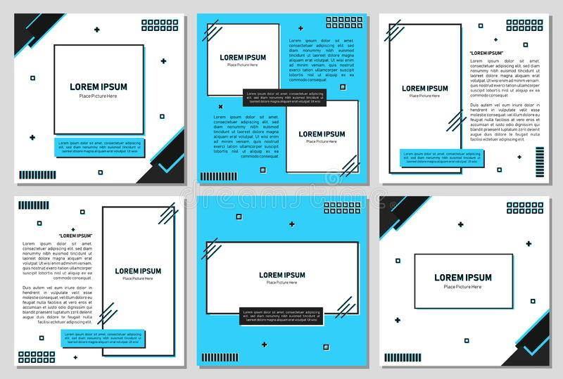 Set of editable square banner template. Editable banner for social media post and web/internet ads. Editable banner adversiter tem. Plate.t. can use for royalty free illustration