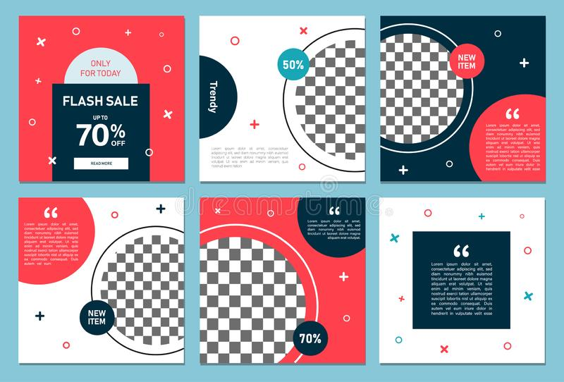 Set of editable square banner template. Editable banner for social media post and web/internet ads. Editable banner adversiter tem. Plate.t. can use for stock illustration