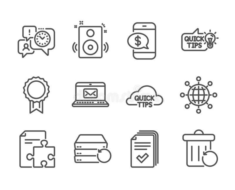 Set of Education icons, such as Recovery server, Phone payment, Handout. Vector. Set of Education icons, such as Recovery server, Phone payment, Handout, Reward vector illustration