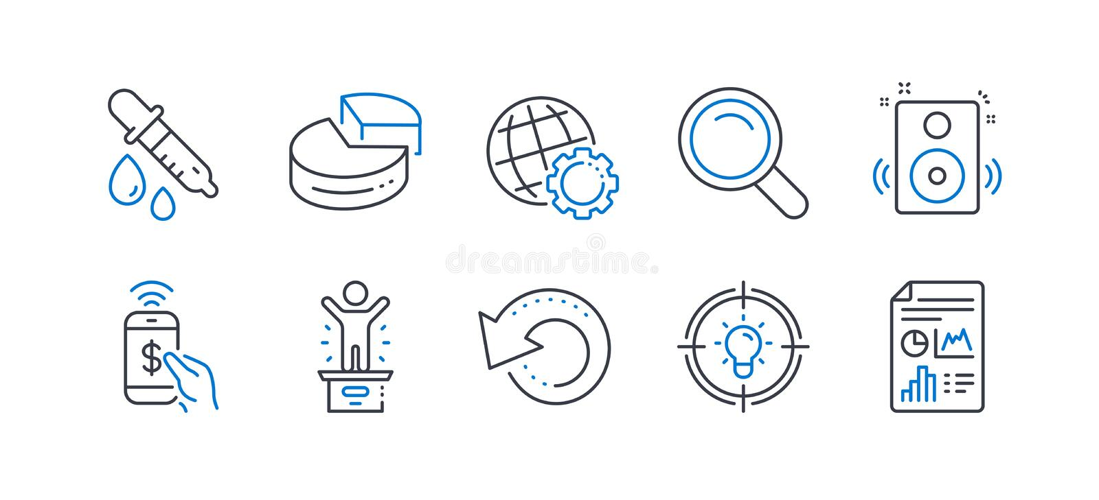 Set of Education icons, such as Search, Globe, Chemistry pipette. Vector. Set of Education icons, such as Search, Globe, Chemistry pipette, Recovery data, Pie royalty free illustration