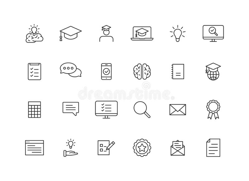 Set of 24 Education and Learning web icons in line style. School, university, textbook, learning. Vector illustration.  stock illustration