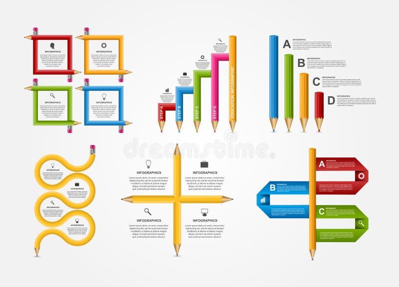Set education pencil option Infographics design template. vector illustration