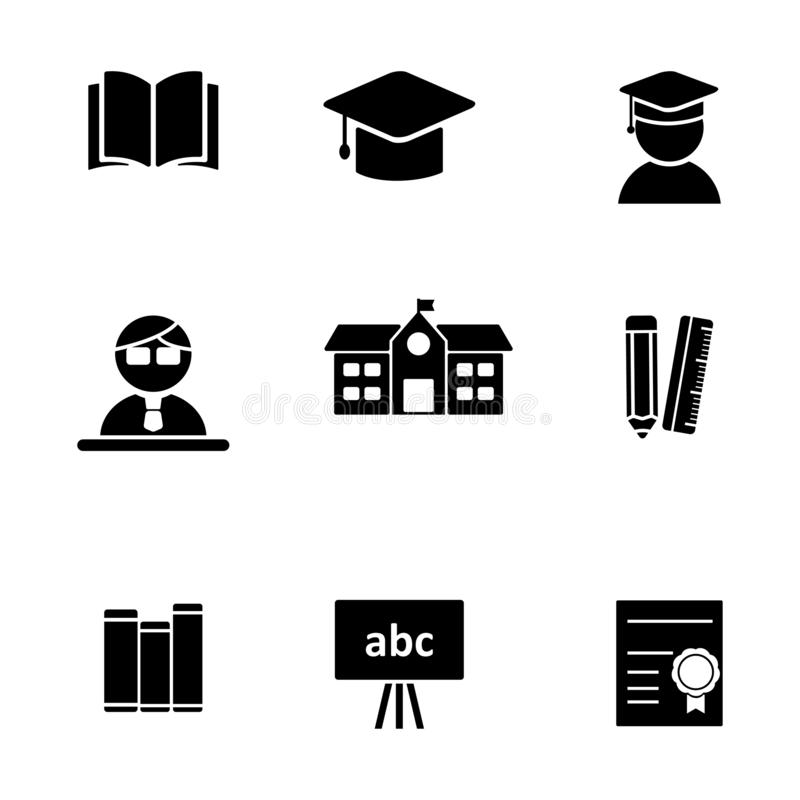 Set of education related icon isolated on white background stock photo