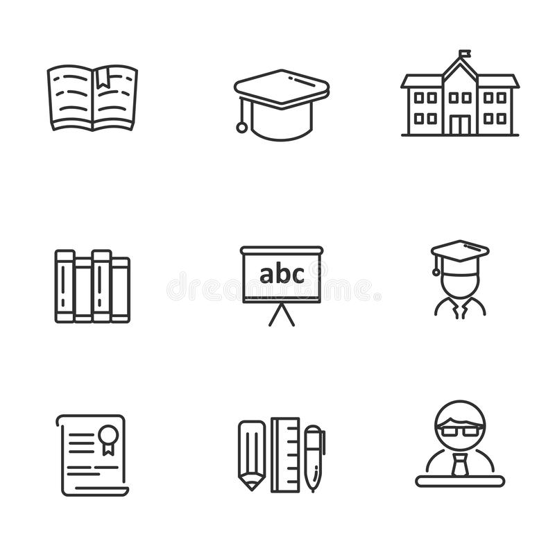 School related vector illustration with simple line design. Set of education related icon line. School  related vector illustration with simple line design stock illustration