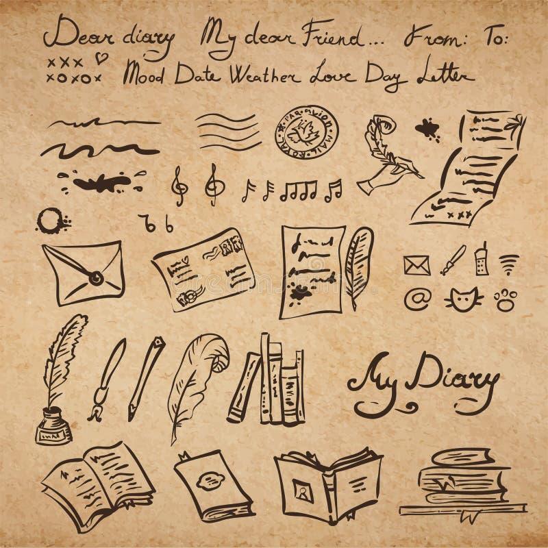 Set edukaci i writing instrumenty royalty ilustracja
