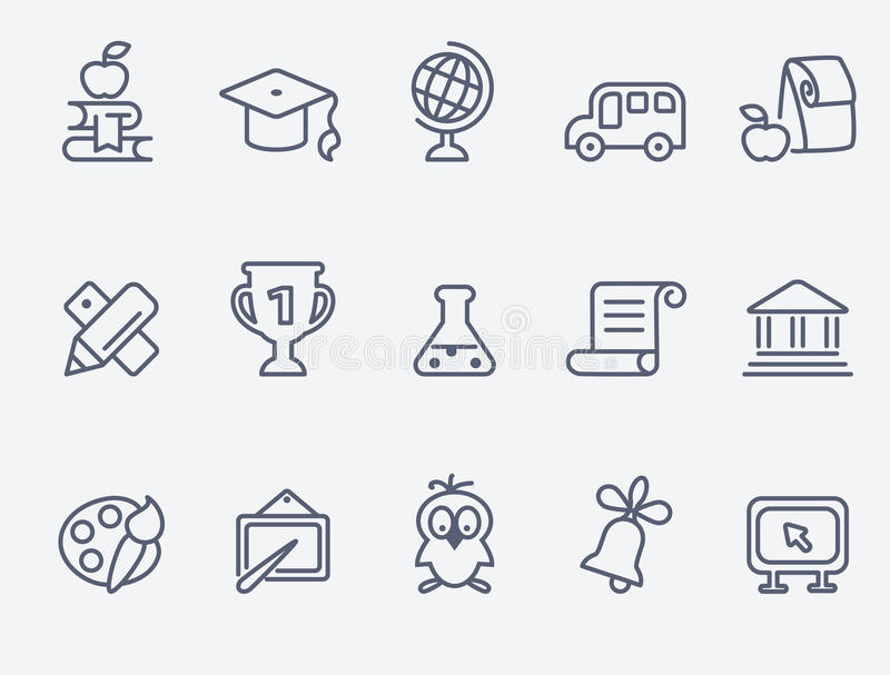 Set 15 edukacj ikon ilustracji