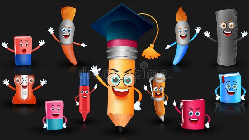 Set edukacja dostarcza kreskówkę ilustracji