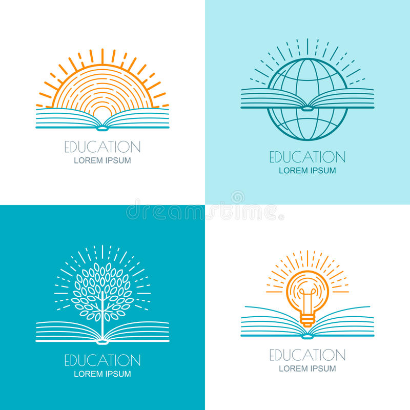 Set edukacja logo, ikony, emblematy projektuje elementy O ilustracja wektor