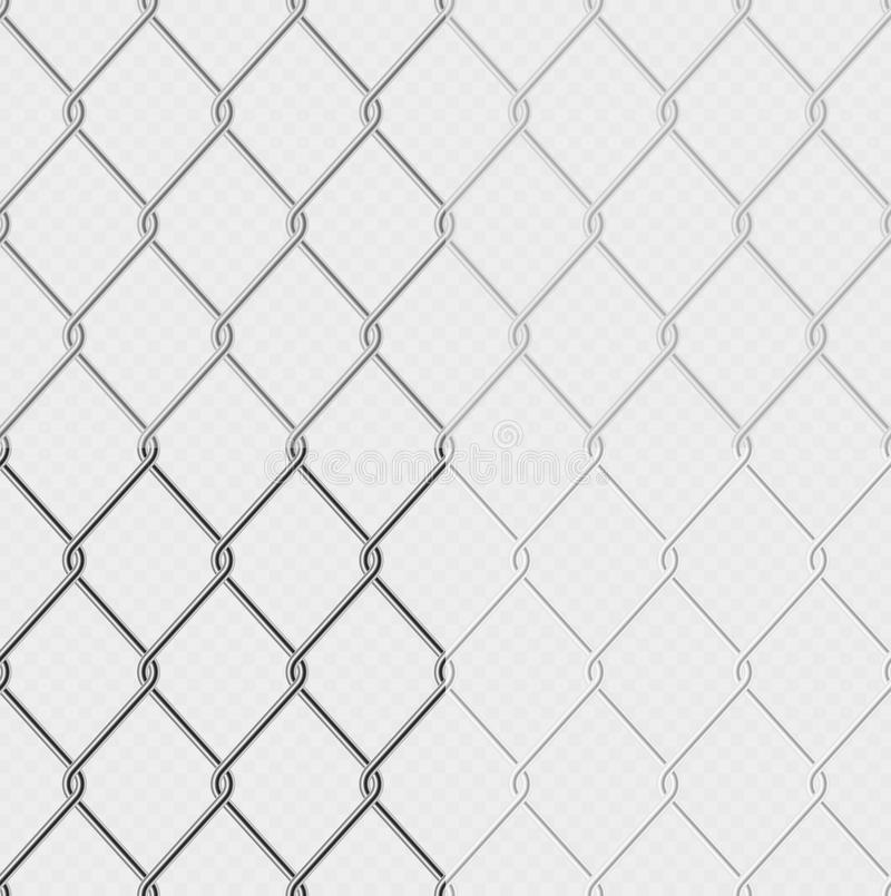Set of effect - chain link fence wire mesh steel metal isolated on transparent background. Graphic element object for stock illustration