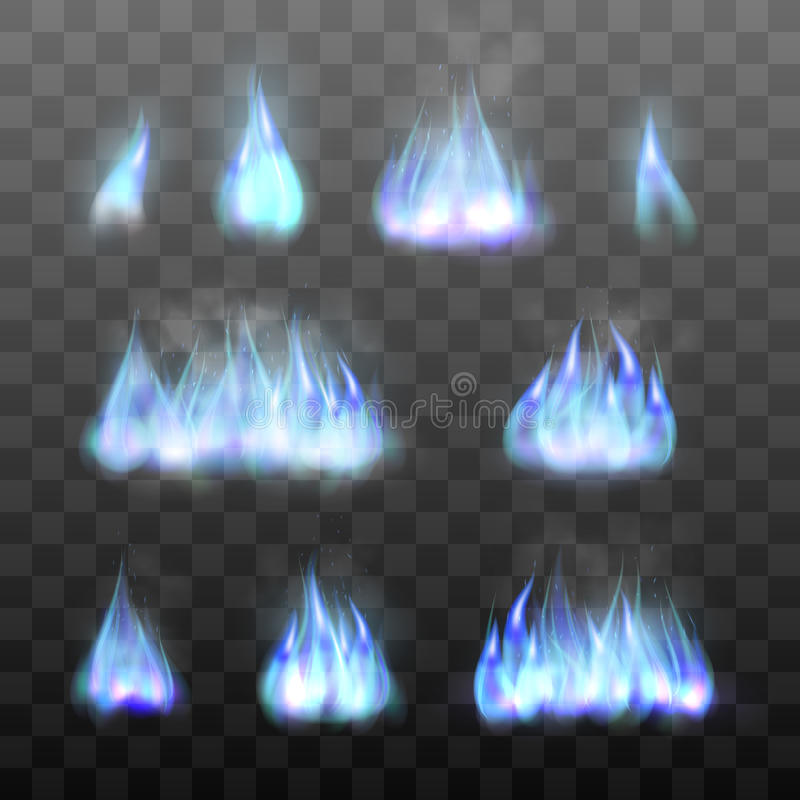 Set effects of blue fire. royalty free illustration