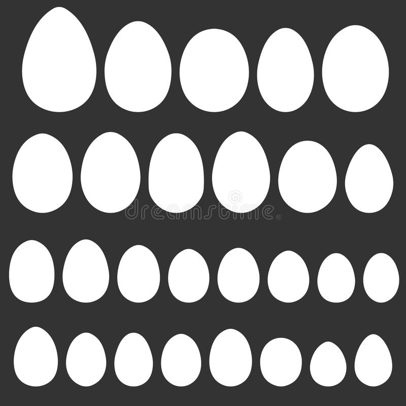Set egg shape template for hand drawing for Easter holiday, vector different shape of bird eggs reptiles, for Easter design stock illustration