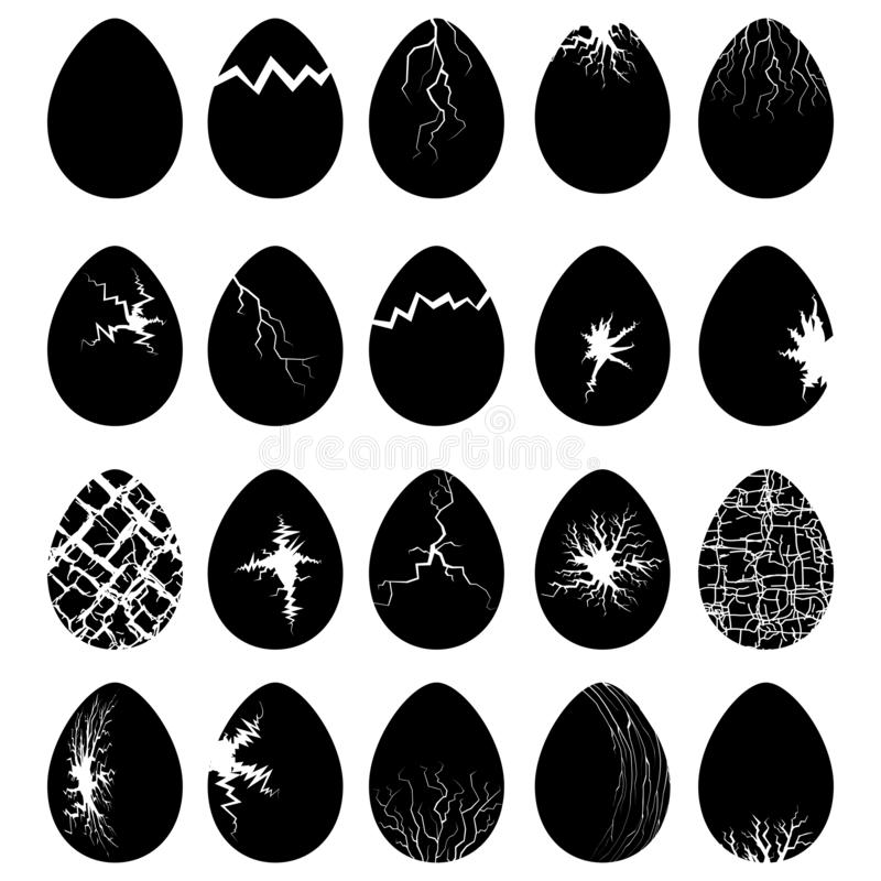 Set of Egg Silhouettes with Crack vector illustration