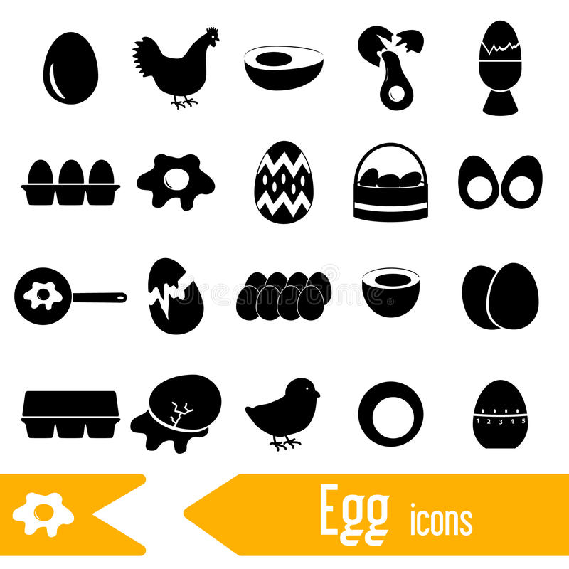 Set of egg theme black icons royalty free illustration