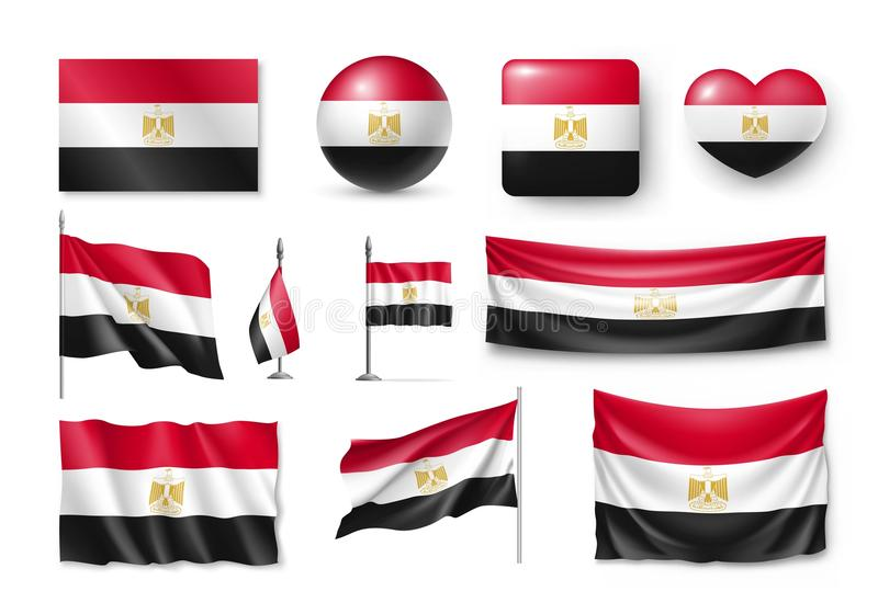 Set Egypt Flags Banners Banners Symbols Flat Icon Stock Vector