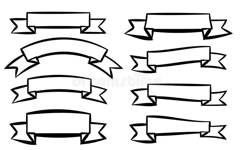 Set of eight black different ribbons of signage labels of labels in different styles on a white background. royalty free illustration