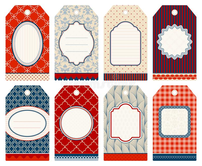 Set Of Eight Christmas Hangtags Pattern Beige Red Blue royalty free illustration
