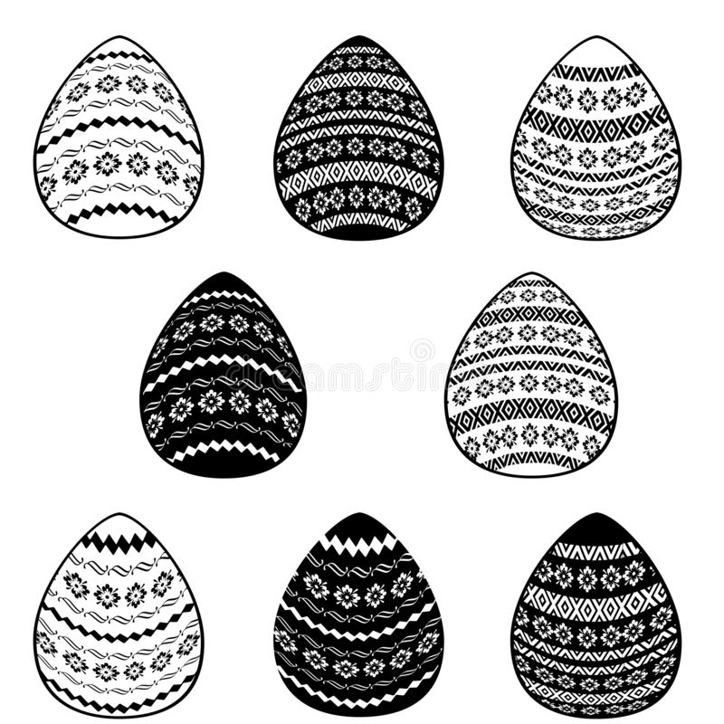 Set of eight easter eggs patterns - white and black on the white background vector illustration