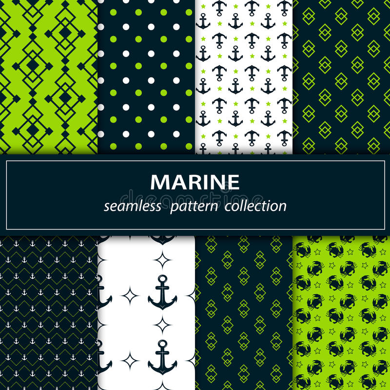 A set of eight paintings of seamless fabric. Marine themes in green, blue and white colors. In the paintings of the anchor is drawn, peas, cancer. Stock Vector royalty free illustration