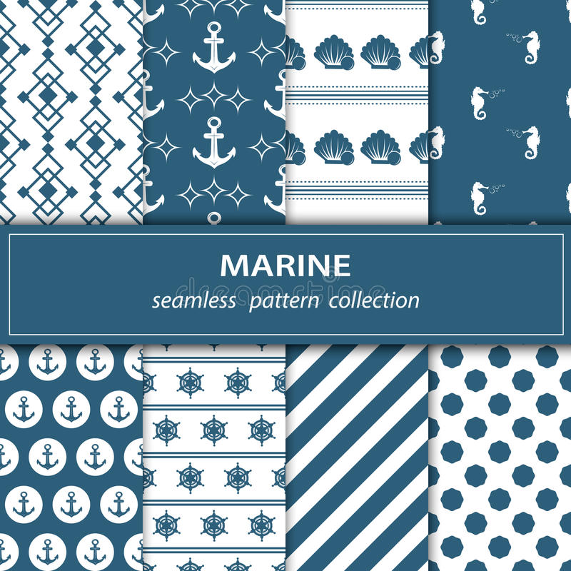A set of eight paintings. Seamless fabric. Nautical theme. stock illustration