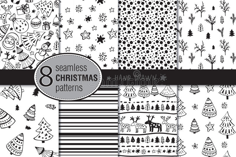Set of eight seamless hand drawn christmas patterns. vector illustration