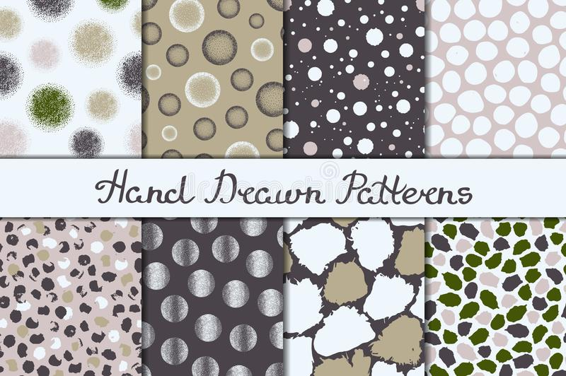 Set of eight seamless textures. Patterns with spheres, round and oval elements and spots. Abstract forms drawn a wide pen and ink. stock illustration