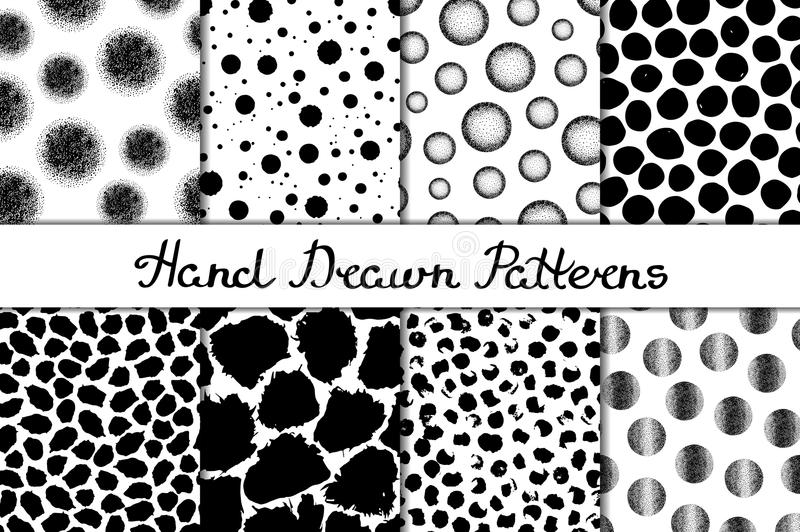 Set of eight seamless textures. Patterns with spheres, round and oval elements and spots. Abstract forms drawn a wide pen and ink. Backgrounds in black and royalty free illustration