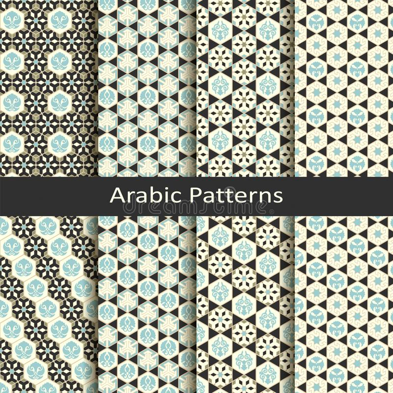 Set of eight seamless vector arabic traditional geometric patterns. design for covers, textile, packaging royalty free illustration