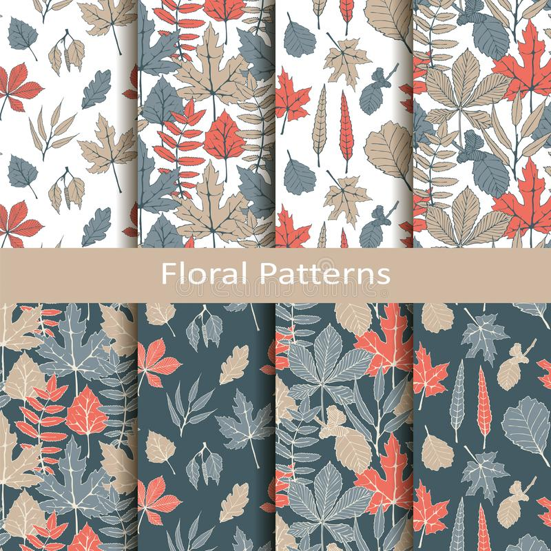 Set with eight seamless vector floral patterns with hand drawn leaves. design for packaging, covers, textile vector illustration