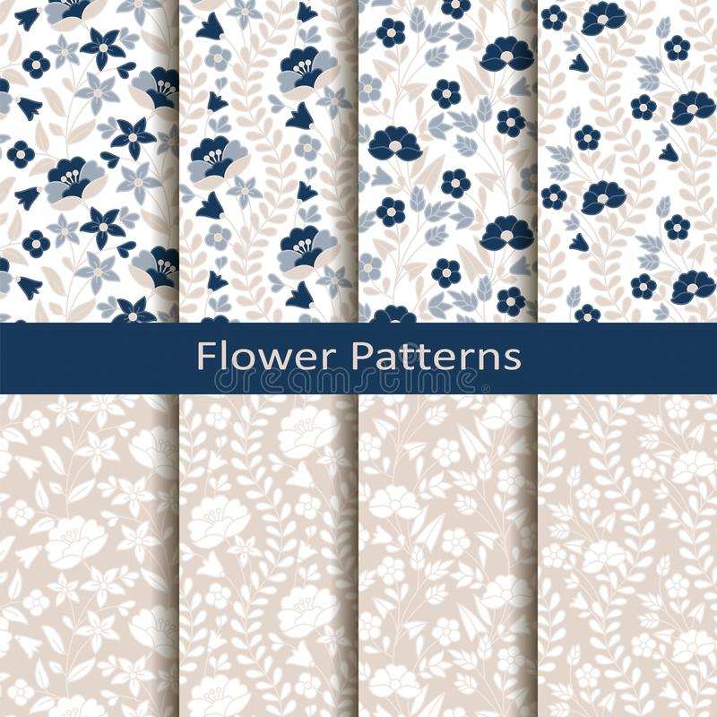 Set of eight seamless vector flower hand drawn patterns. design for covers, textile, packaging vector illustration