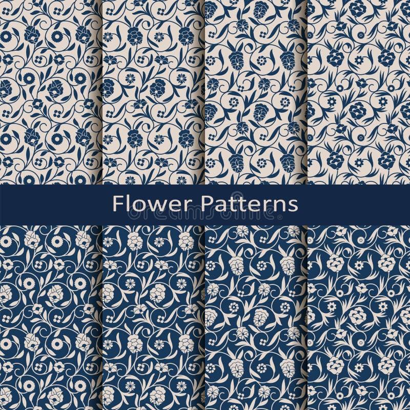 Set of eight seamless vector flower vintage patterns. design for packaging, covers, textile. Set of eight seamless vector flower blue vintage patterns. design vector illustration