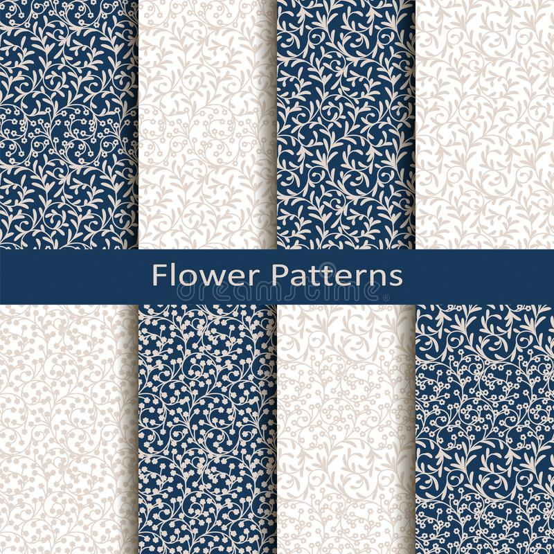 Set of eight seamless vector flower patterns. design for packaging, covers, textile stock illustration