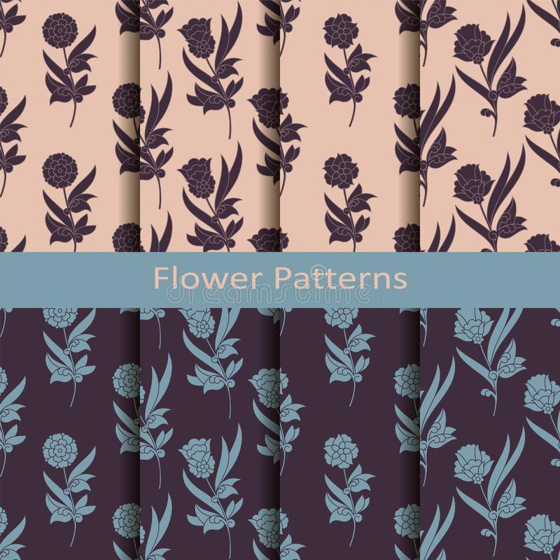 Set of eight seamless vector pattern with vintage flowers. seamless template in swatch panel. design for print, textil royalty free illustration
