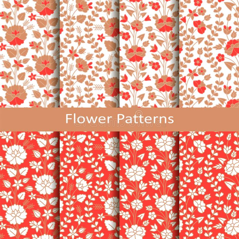 Set of eight seamless vector patterns with hand drawn flowers. design or packaging, fashion, textile, covers royalty free illustration