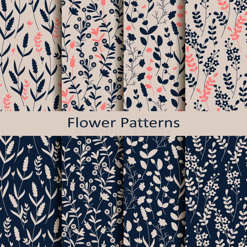 Set of eight seamless vector spring patterns with hand drawn flower print. design for textile, covers, packaging royalty free illustration