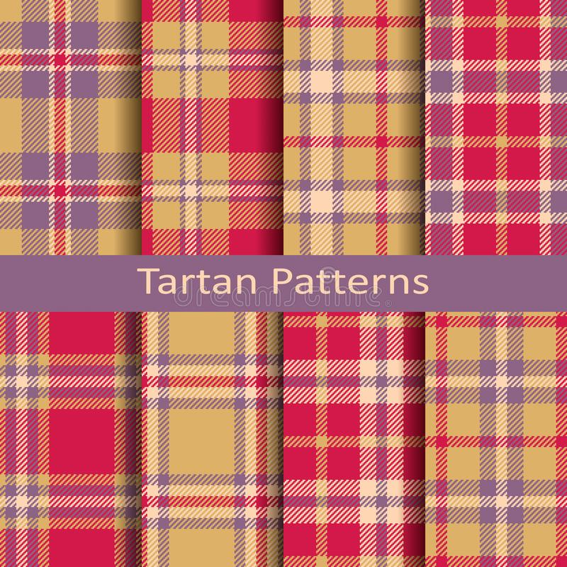 Set of eight seamless vector tartan square patterns. design for textile, covers, packaging, christmas vector illustration