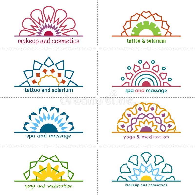 Set of eight templates of stickers or logo with geometric multicolor flowers. royalty free stock image