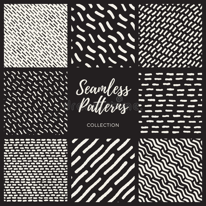 Set of Eight Vector Seamless Lines Patterns Collection stock illustration