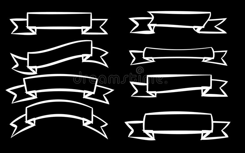 A set of eight white different ribbons of signage labels of labels of labels in different styles on a black background. stock illustration