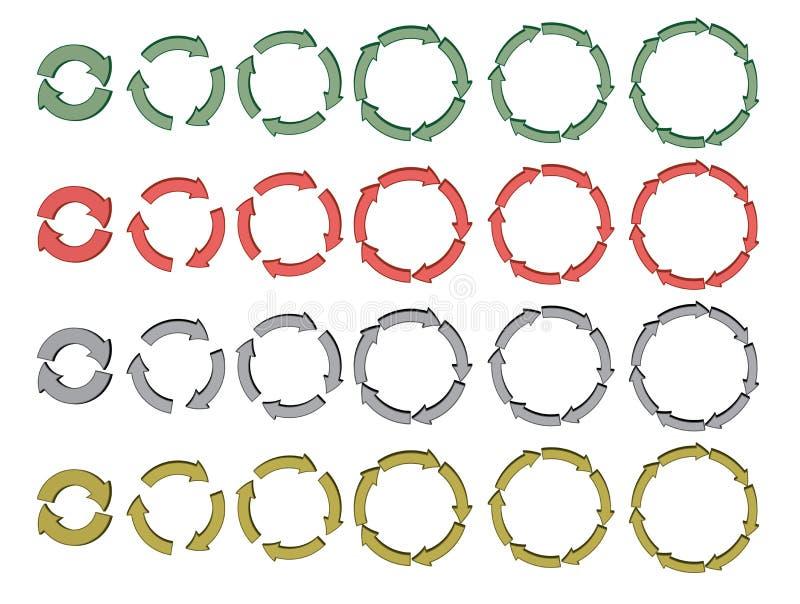 Set einen.Kreislauf.durchmachenpfeile 3d vektor abbildung