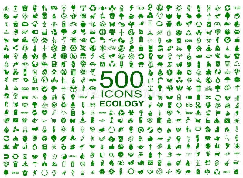 Set 500 ekologii ikon - wektor ilustracji