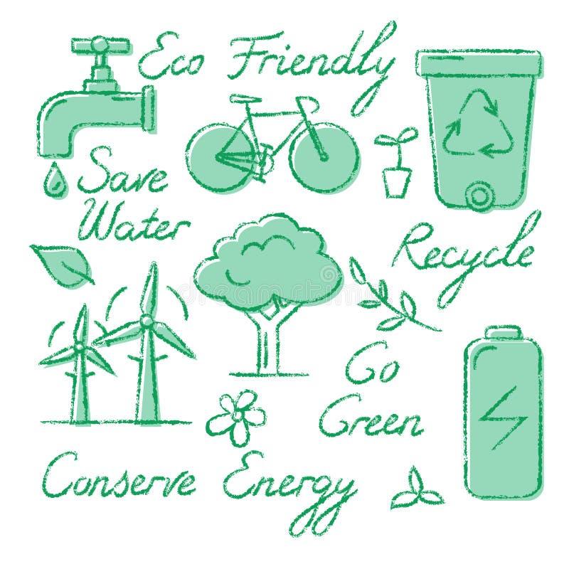 Set ekologii ikony i literowanie w nakreśleniu projektujemy ilustracja wektor