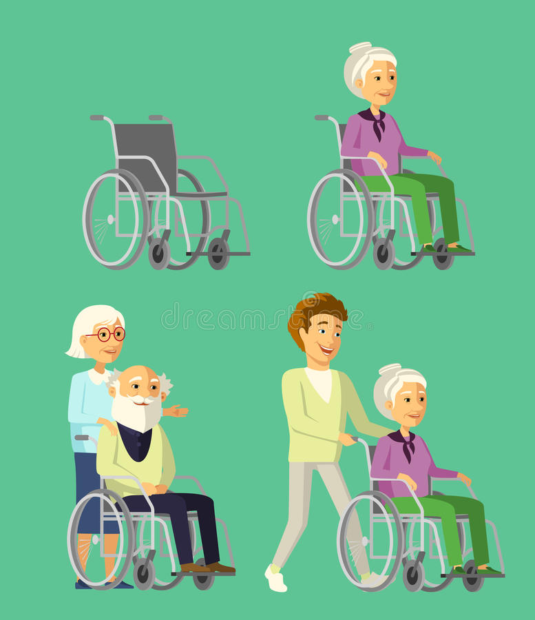 Set of elderly people in wheelchair. Social worker strolling with senior woman in wheelchair. royalty free illustration