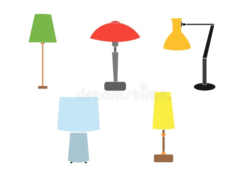 A set of electric lamps. Furniture and floor lamps and table lamps. home interiors fixtures. vector illustrations. Floor lamps and table lamps home energy royalty free illustration