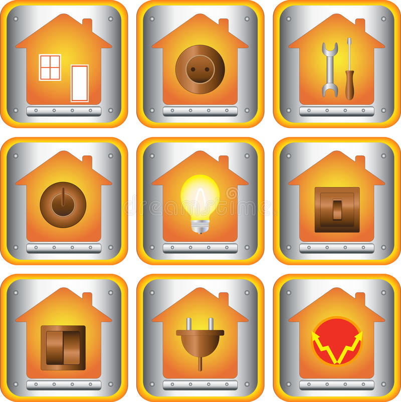 Download Set of electric objects stock vector. Image of charge - 21916054