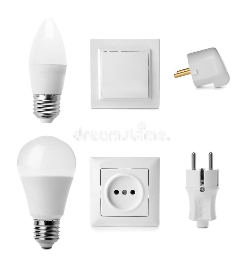 Set of electrical supplies on white background. stock photography