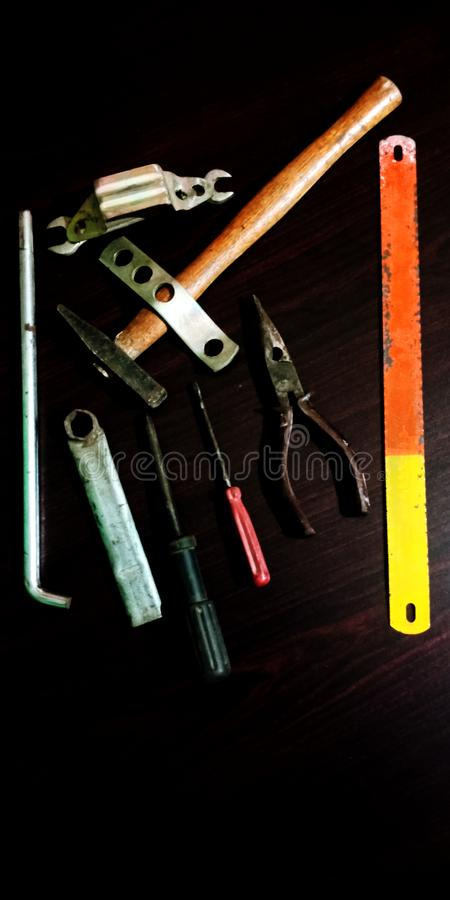 Set of electrical tool on wooden background accessories for engineering work energy concept stock photo. Apparatus, appliances, gadget, gizmo, means, mechanism stock images